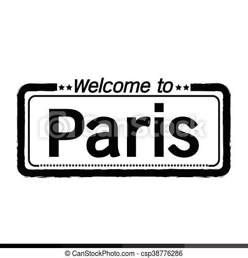 Welcome to Paris city illustration design - csp38776286