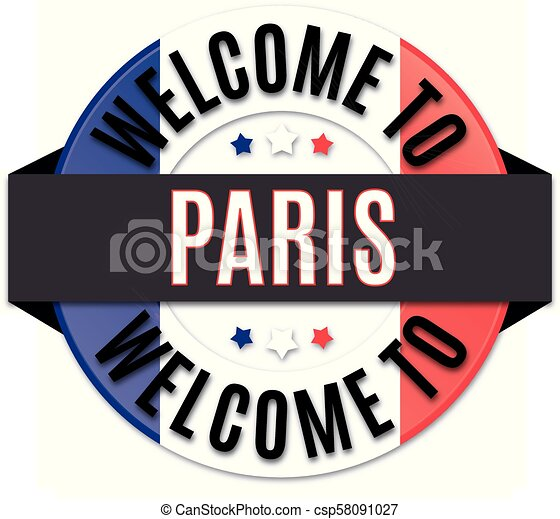 welcome to paris france flag icon - csp58091027