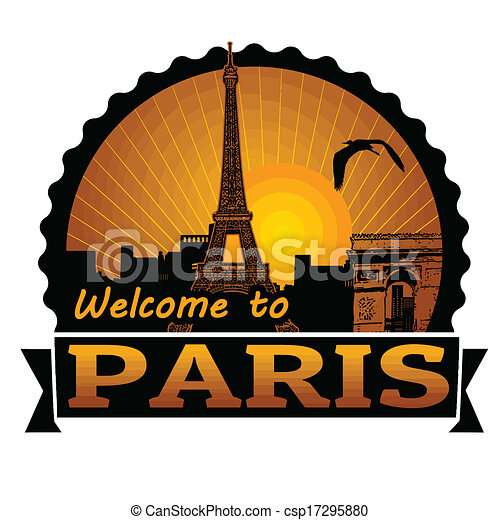 Welcome to Paris label or stamp - csp17295880