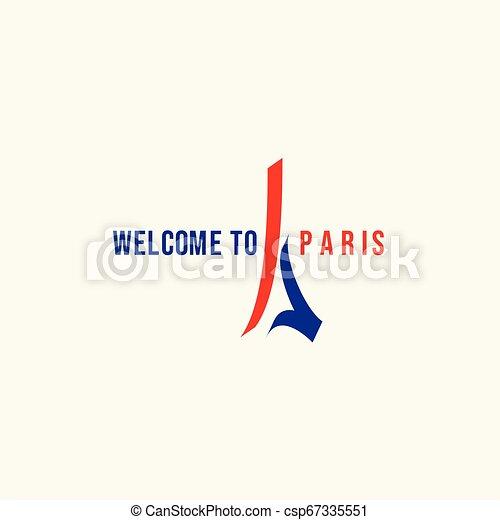 Welcome to Paris Logo Vector Template Design Illustration - csp67335551
