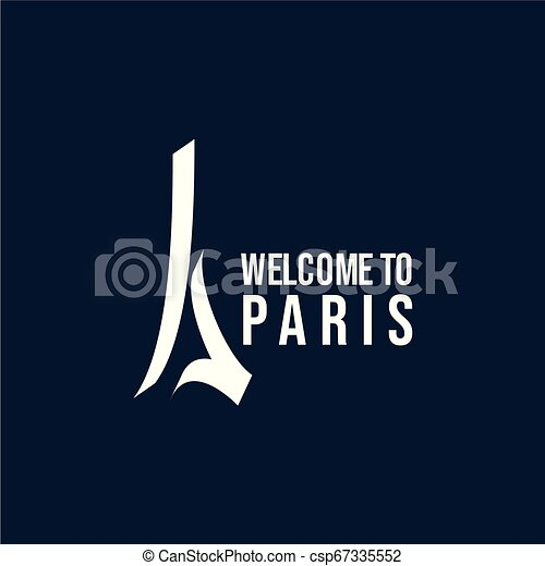 Welcome to Paris Logo Vector Template Design Illustration - csp67335552
