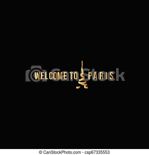 Welcome to Paris Logo Vector Template Design Illustration - csp67335553