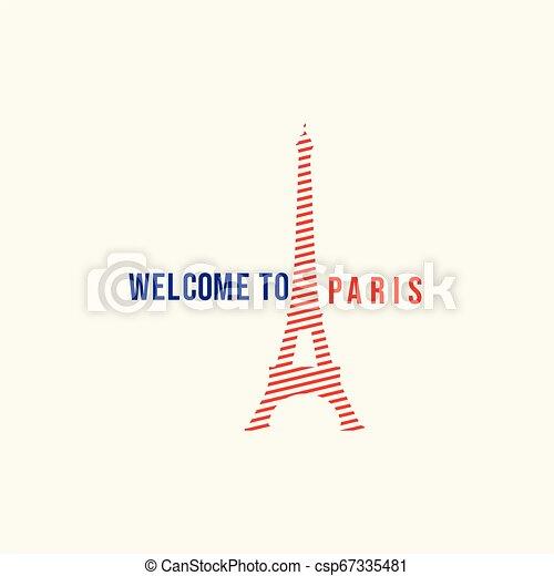 Welcome to Paris Logo Vector Template Design Illustration - csp67335481