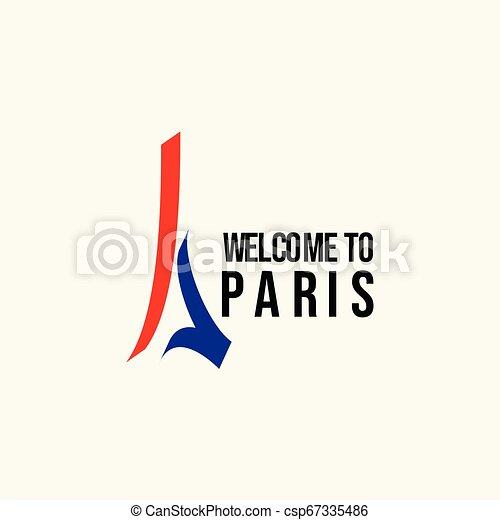 Welcome to Paris Logo Vector Template Design Illustration - csp67335486