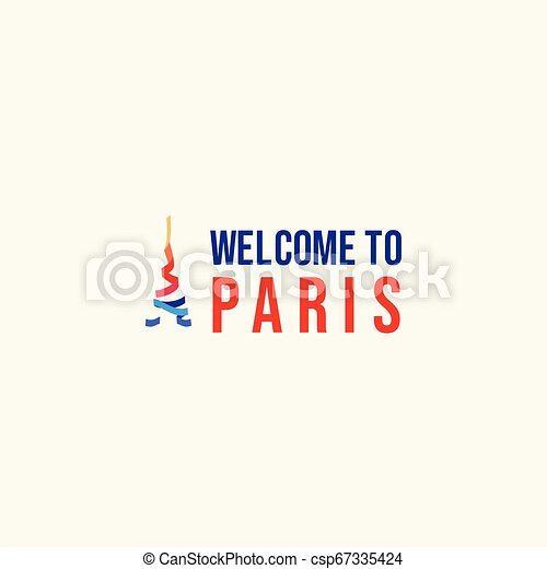Welcome to Paris Logo Vector Template Design Illustration - csp67335424