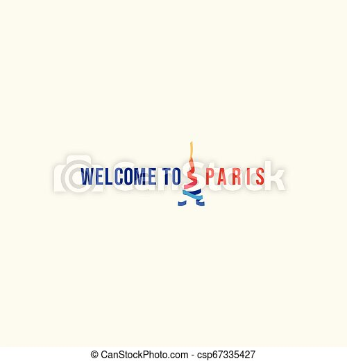 Welcome to Paris Logo Vector Template Design Illustration - csp67335427