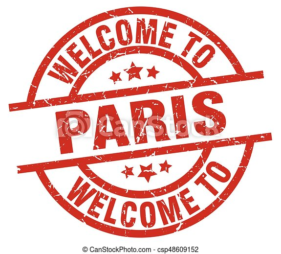 welcome to Paris red stamp - csp48609152