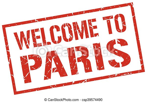 welcome to Paris stamp - csp39574490