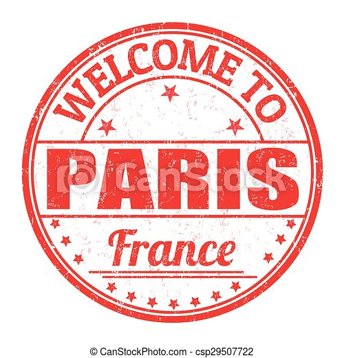 Welcome to Paris stamp - csp29507722