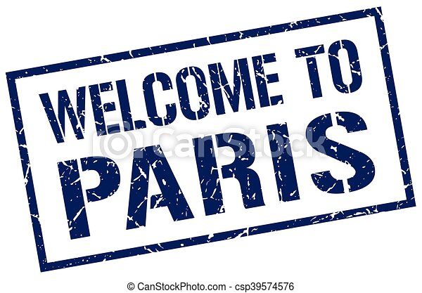 welcome to Paris stamp - csp39574576