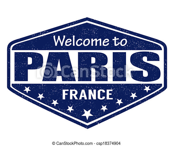 Welcome to Paris stamp - csp18374904