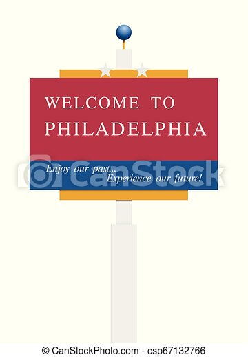 Welcome to Philadelphia road sign - csp67132766