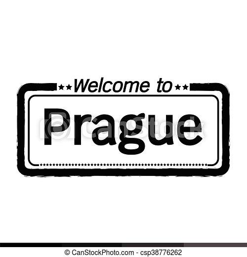 Welcome to Prague city illustration design - csp38776262