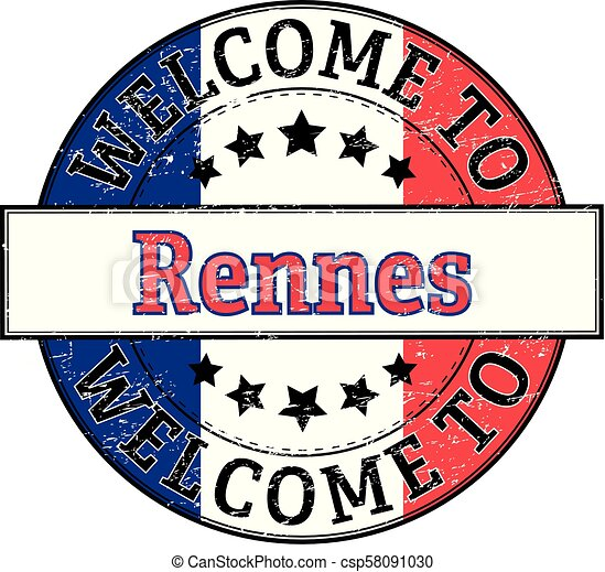 welcome to Rennes round stamp - csp58091030