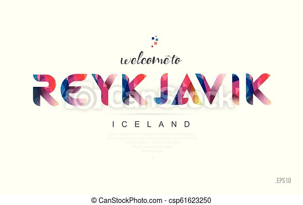 Welcome to reykjavik iceland card and letter design typography icon - csp61623250