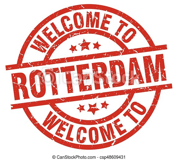 welcome to Rotterdam red stamp - csp48609431