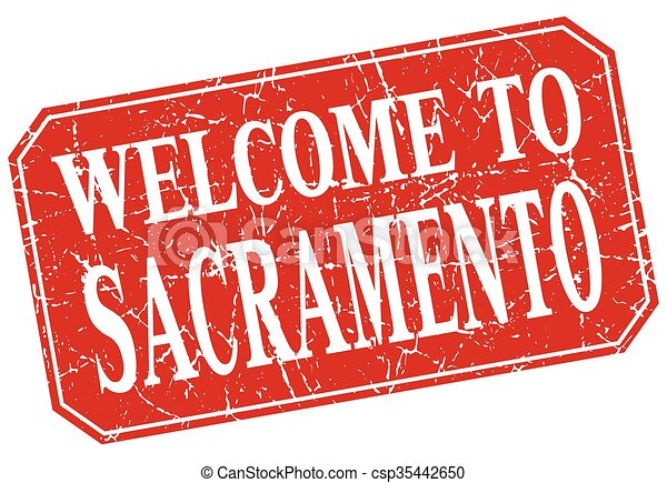 welcome to Sacramento red square grunge stamp - csp35442650
