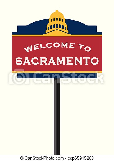 Welcome to Sacramento road sign - csp65915263