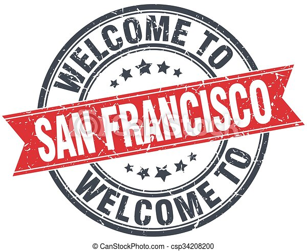 welcome to San Francisco red round vintage stamp - csp34208200