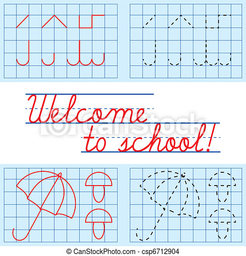 Welcome to school card, vector illustration - csp6712904
