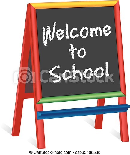Welcome to School Childrens Easel - csp35488538