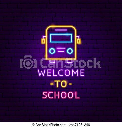 Welcome to School Neon Label - csp71051246