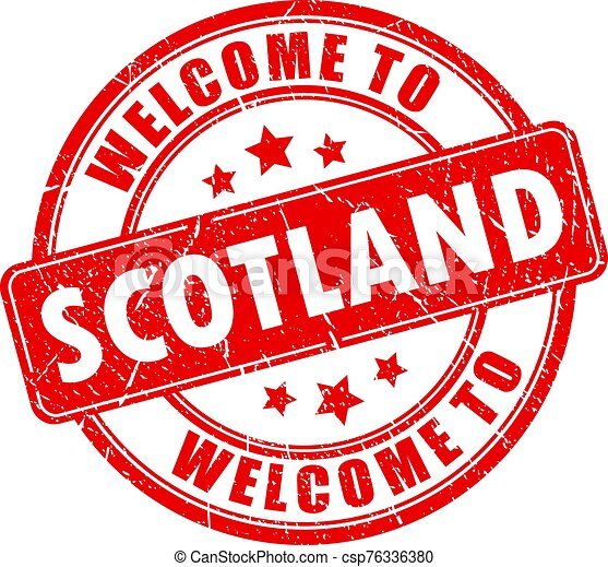 Welcome to Scotland red grunge stamp - csp76336380