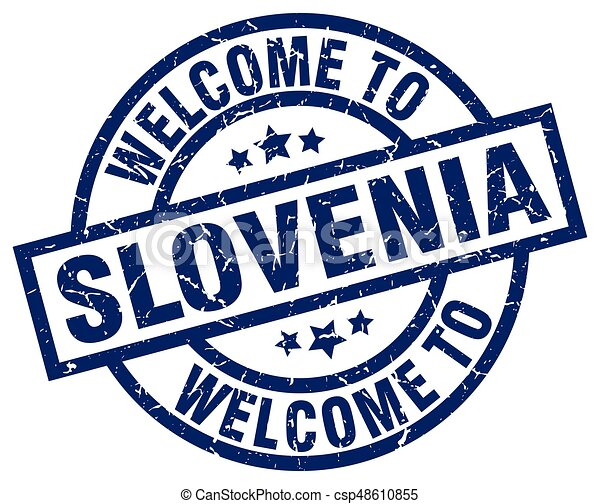 welcome to Slovenia blue stamp - csp48610855