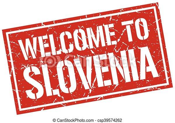 welcome to Slovenia stamp - csp39574262