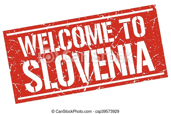 welcome to Slovenia stamp - csp39573929