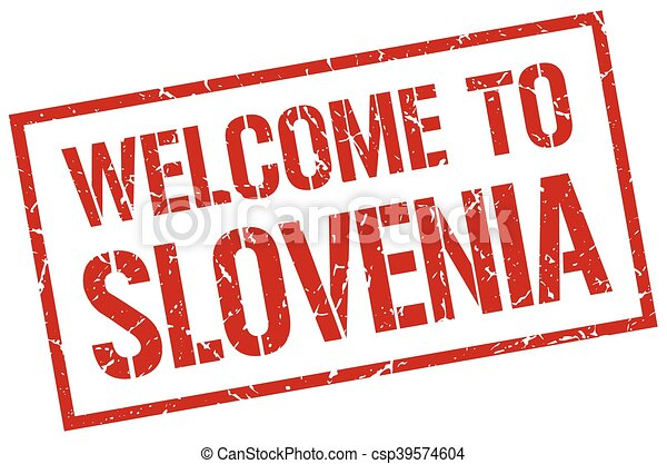 welcome to Slovenia stamp - csp39574604