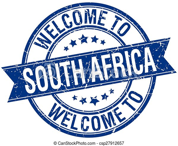 welcome to South Africa blue round ribbon stamp - csp27912657