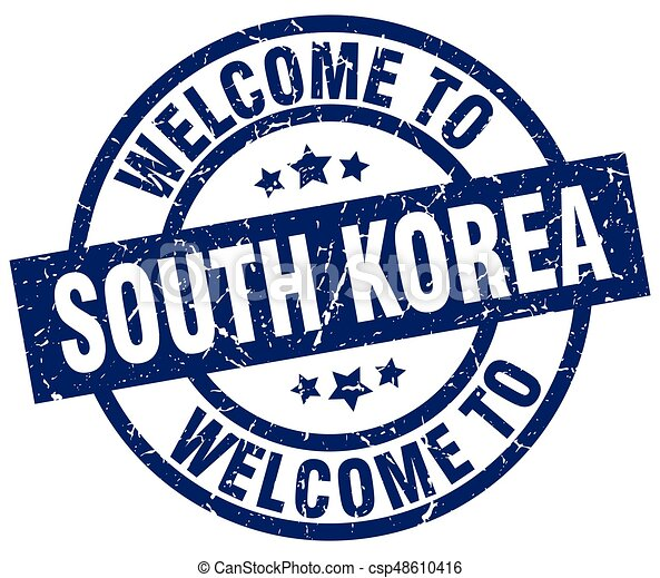 welcome to South Korea blue stamp - csp48610416