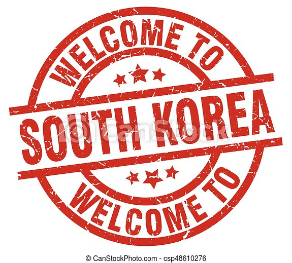 welcome to South Korea red stamp - csp48610276