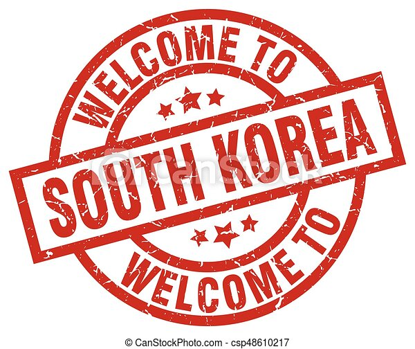 welcome to South Korea red stamp - csp48610217