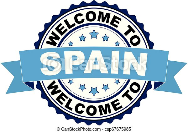 Welcome to Spain blue black rubber stamp - csp67675985