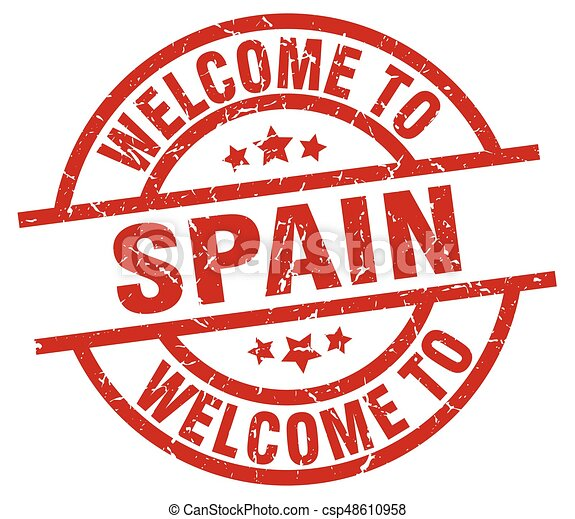 Welcome To Spain Red Stamp