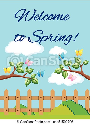 Welcome To Spring Poster With Garden Scene   Csp51590706