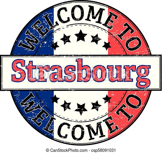 welcome to Strasbourg round stamp - csp58091031