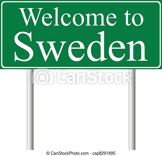 Welcome to Sweden, concept road sign - csp8291895
