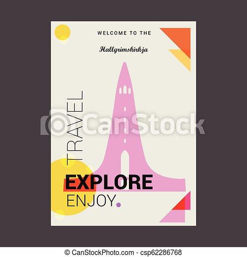 Welcome to The Hallgrimskirkja Reykjav??k, Iceland Explore, Travel Enjoy Poster Template - csp62286768