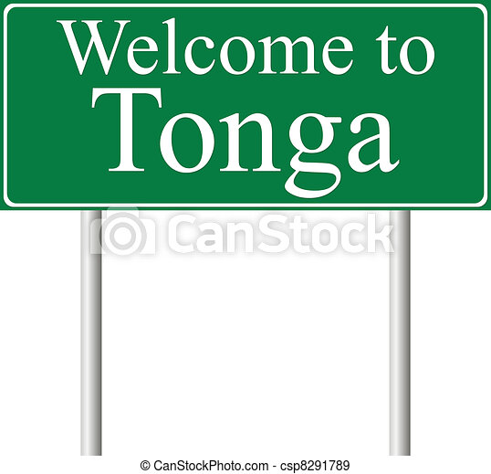 Welcome to Tonga, concept road sign - csp8291789