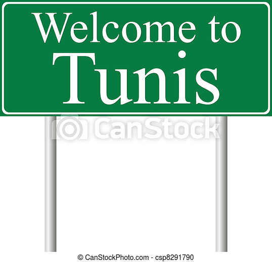 Welcome to Tunis, concept road sign - csp8291790