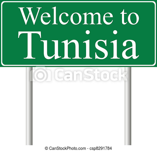Welcome to Tunisia, concept road sign - csp8291784