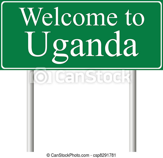 Welcome to Uganda, concept road sign - csp8291781
