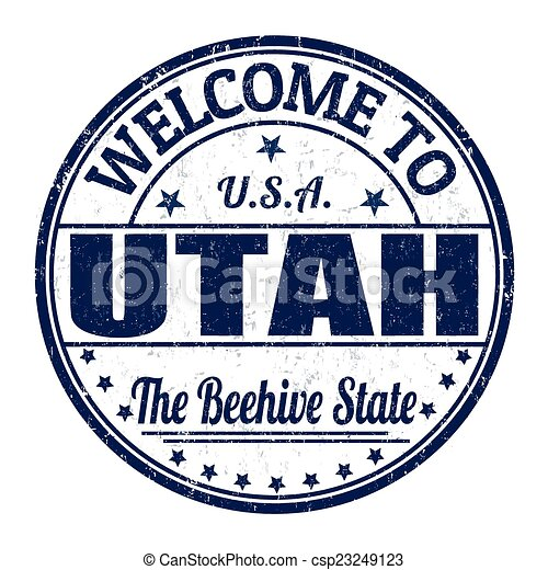 Welcome to Utah stamp - csp23249123