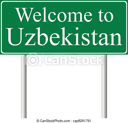 Welcome to Uzbekistan, concept road sign - csp8291791