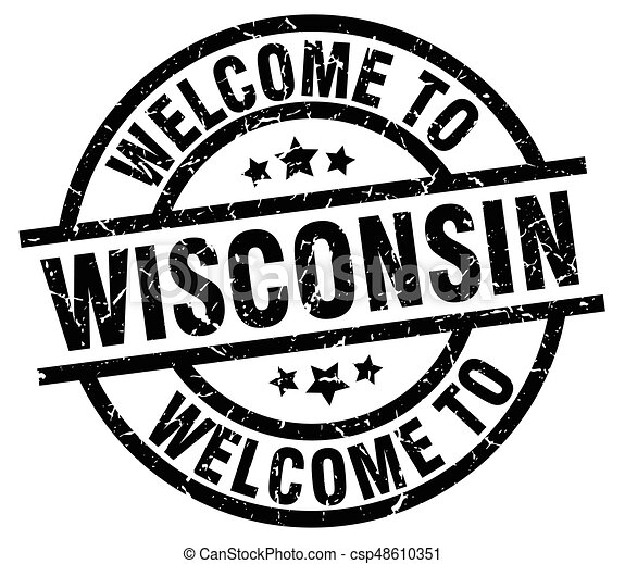 welcome to Wisconsin black stamp - csp48610351