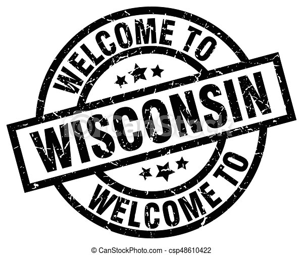 welcome to Wisconsin black stamp - csp48610422