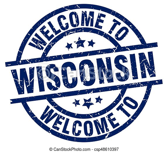 welcome to Wisconsin blue stamp - csp48610397
